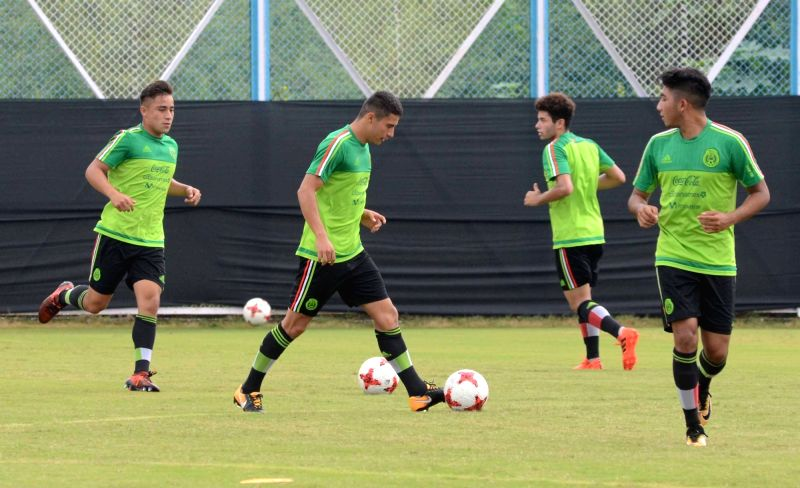 Mexican players in action during a practice session ahead of FIFA U17 World Cup at Salt Lake stadium in Kolkata on Oct 7, 2017.