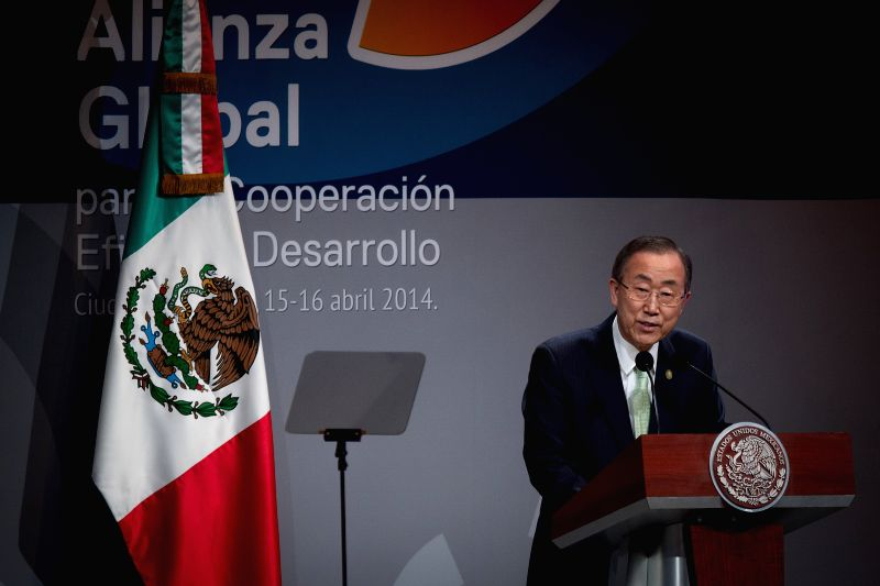 Secretary-General of the United Nations Ban Ki-moon delivers a speech during the opening ceremony of the First High Level Meeting of the Global Alliance for ...