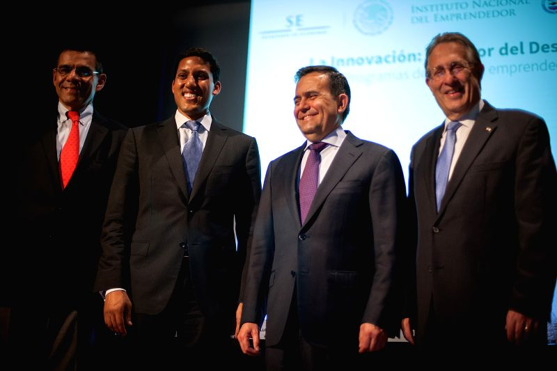 Administrator of the US Agency for International Development Rajiv Shah (2nd L), US Ambassador to Mexico Anthony Wayne (1st R) and Mexican Finance Minister ... - Ildefonso Guajardo and Development Rajiv Shah