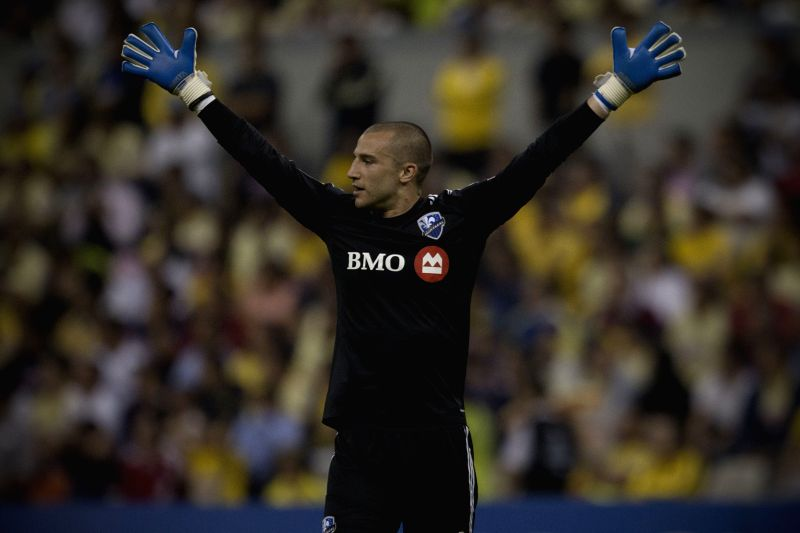 Montreal Impact's goalkeeper Evan Bush, reacts during the first leg final match of the Confederation of North, Central American and Caribbean Association ...