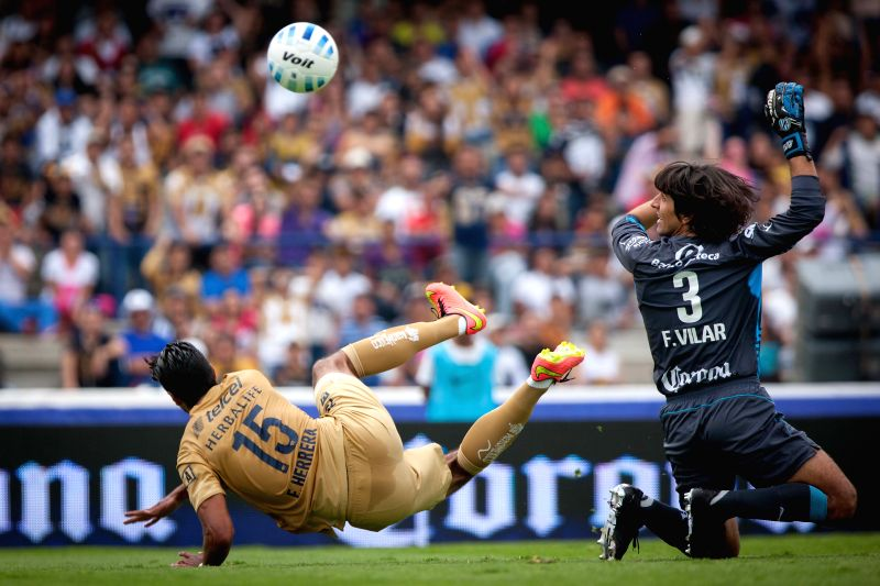 Eduardo Herrera (L) of UNAM's Pumas vies for the ball with the goalie Federico Vilar (R) of Atlas, during their match of the MX League Opening Tournament 2014, .