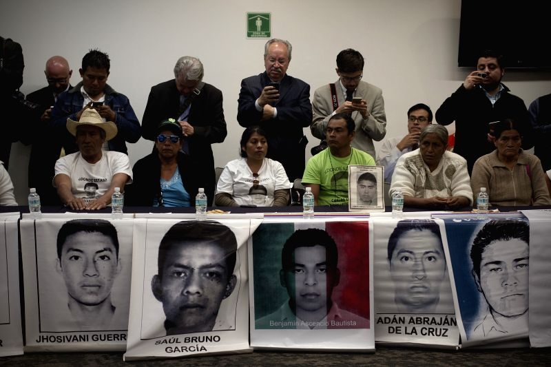 Mexico City : Family members of the students of the Normal Rural School of Ayotzinapa that went missing in Iguala, Guerrero, take part in a meeting in the Republic's Senate, in Mexico City, capital ..