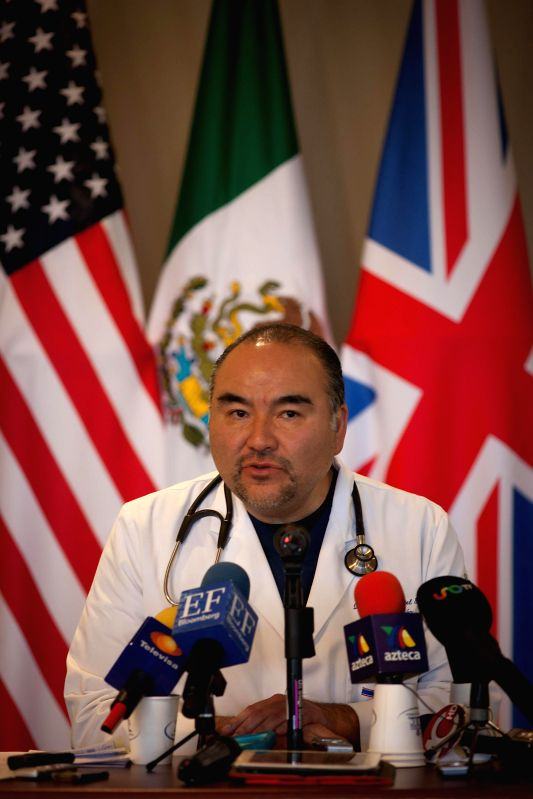 Dr. Hector Montiel, head of ABC Hospital emergency department, attends a press conference after the tanker truck explosion in Mexico City, capital of Mexico, on