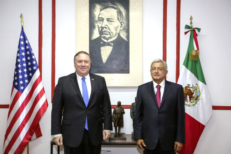 MEXICO CITY, July 14, 2018 - Mexican President-elect Andres Manuel Lopez Obrador (R) and U.S. Secretary of State Mike Pompeo pose for photos during their meeting in Mexico City, capital of Mexico, on ...