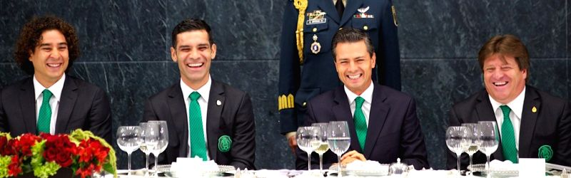 Image provided by Mexico's Presidency shows Mexican President Enrique Pena Nieto (2nd R), head coach of Mexico's national soccer team Miguel Herrera (1st R), ...