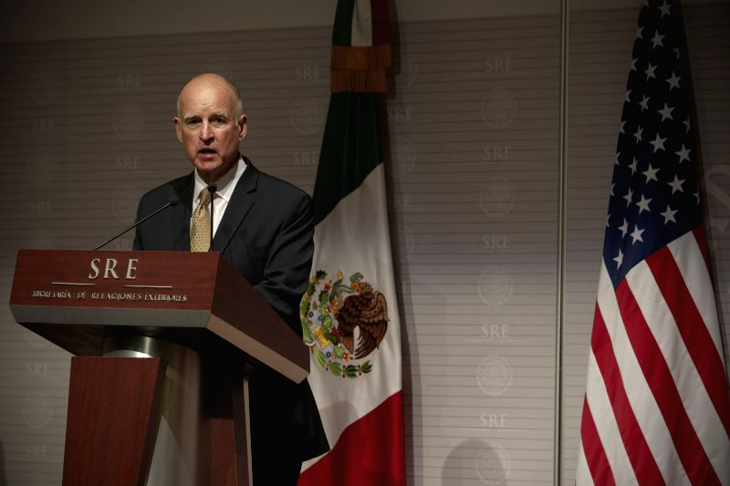 U.S. California's Governor Jerry Brown takes part in a joint press conference with Mexican Foreign Relations Secretary Jose Antonio Meade, at the Memory and ...
