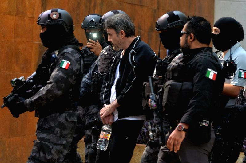 MEXICO CITY, May 3, 2017 - Damaso Lopez Nunez (C), one of the leaders of an international drug trafficking cartel, is arrested in Mexico city, Mexico, May 2, 2017, according to the country's ...