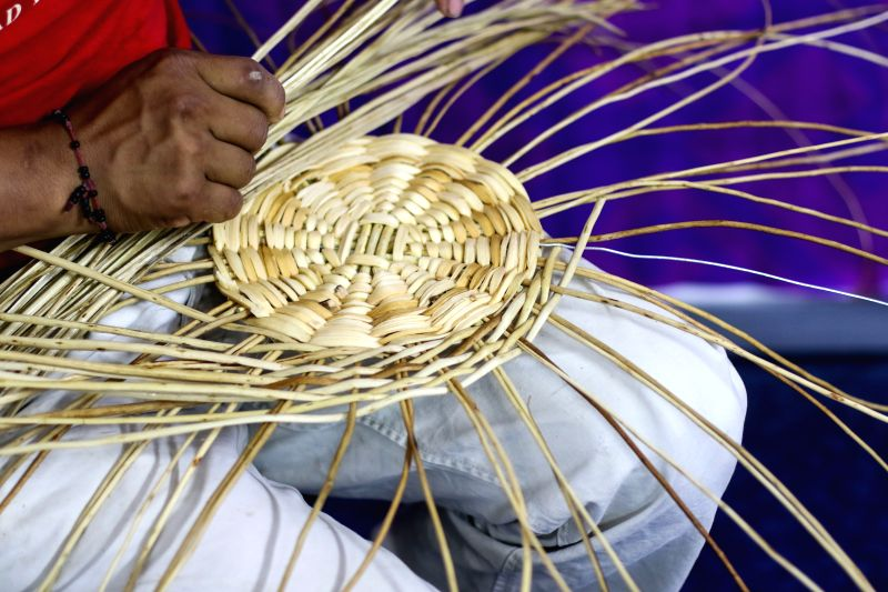 MEXICO CITY, May 7, 2017 - An artisan weaves a willow basket during the 5th Indigenous Peoples Expo at Expo Reforma in Mexico City, capital of Mexico, on May 6, 2017. The 5th Indigenous Peoples Expo ...