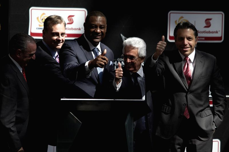 Mexico City (Mexico): Confederation of North, Central America and Caribbean Association Football (CONCACAF) President Jeffrey Webb (2nd L) and Mexican Football Federation President and CONCACAF Vice .