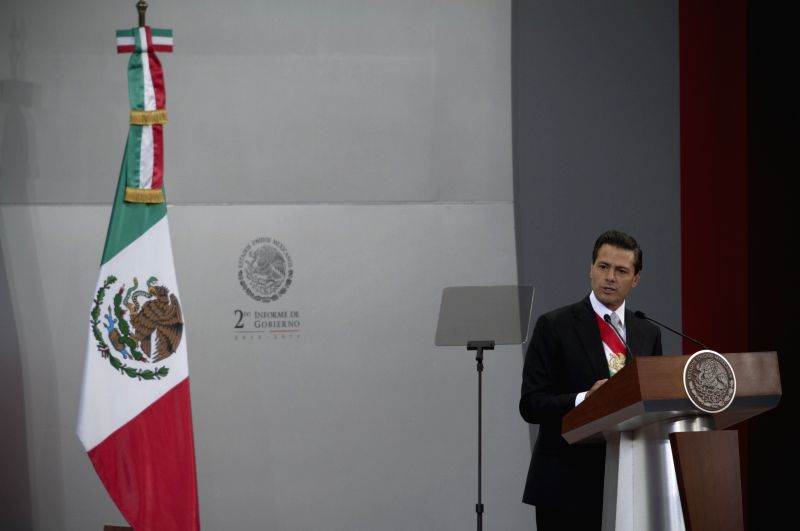 The Mexican President Enrique Pena Nieto presents his second annual report to the nation in Mexico City, capital of Mexico, on Sept. 2, 2014. (Xinhua/Alejandro .