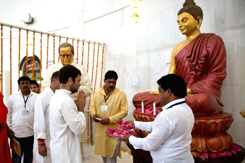 Congress vice president Rahul Gandhi pays tribute to Dr BR Ambedkar at Ambedkar memorial in Mhow, Madhya Pradesh on June 2, 2015.