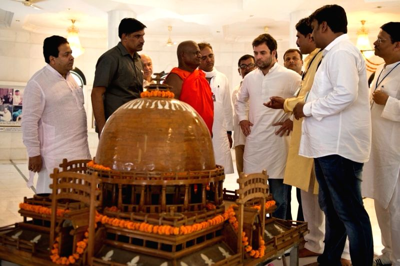 Congress vice president Rahul Gandhi visits Ambedkar memorial in Mhow, Madhya Pradesh on June 2, 2015.