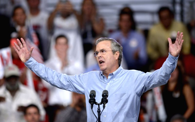 Former Florida Governor Jeb Bush speaks at Kendall campus of Miami Dade College in Miami, Florida, the United States, June 15, 2015. Jeb Bush on Monday joined an ...