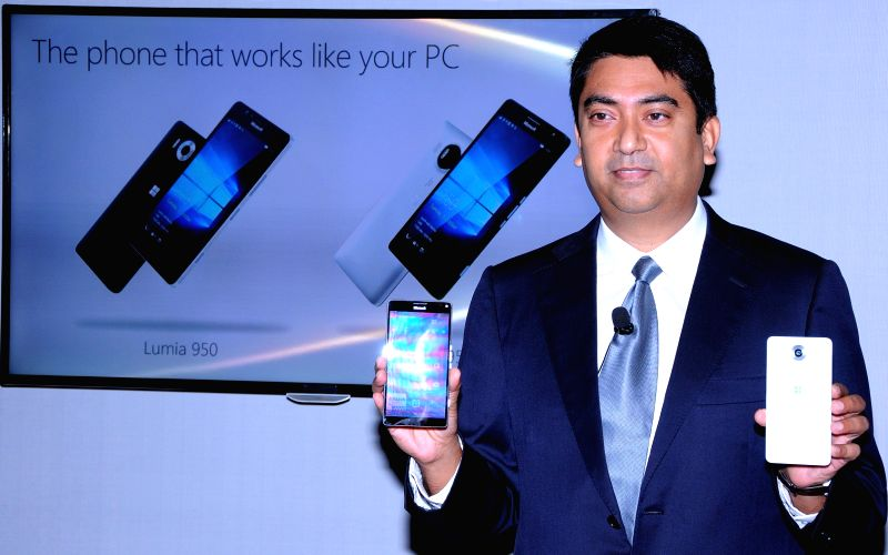 Microsoft Mobile Devices, Director Sales Ravi Kunwar during the launch of Microsoft Lumia 950 and 950 XL in Bengaluru on Nov 30, 2015.
