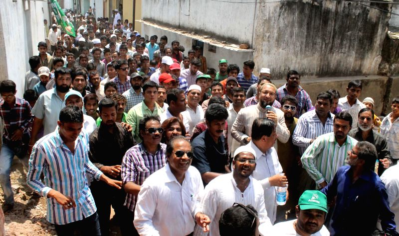 MIM chief Asaduddin Owaisi during an election campaign in Hyderabad on April 11, 2014.