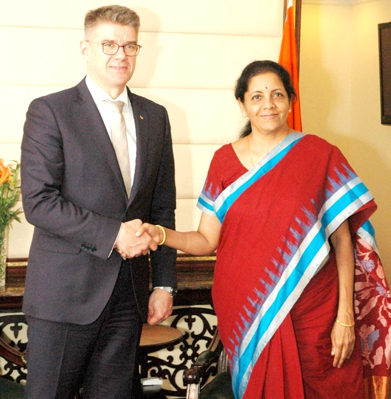 Minister for Foreign Affairs and External Trade of Iceland Gunnar Bragi Sveinsson meets the Minister of State for Commerce & Industry (Independent Charge) Nirmala Sitharaman, in New ...