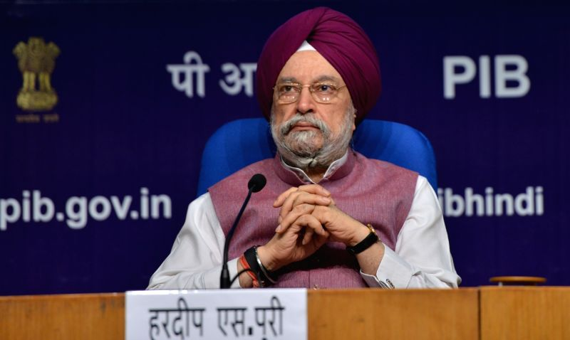 Minister for Housing and Urban State with Independent Charge Affairs, Hardeep Singh Puri addressing a press conference in New Delhi on June 7, 2018. - Hardeep Singh Puri