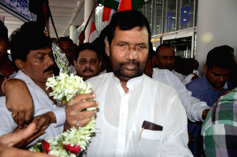 Minister of Consumer Affairs, Food and Public Distribution Ram Vilas Paswan at NSC Bose Airport in Kolkata on June 28, 2014.