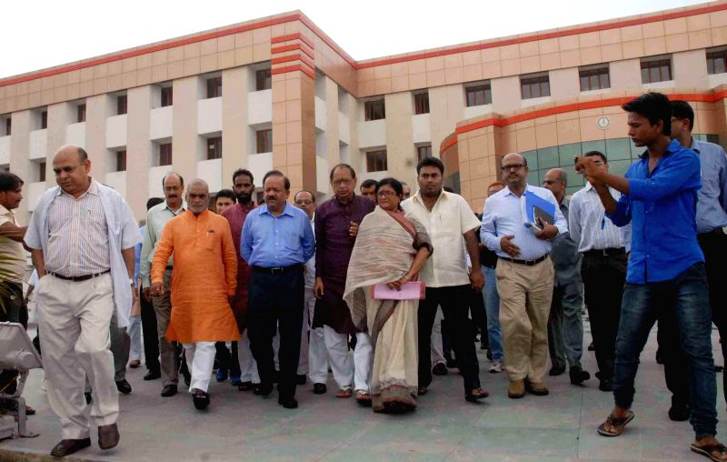 Minister of Health and Family Welfare Dr. Harsh Vardhan visit to All India Institute of Medical Sciences (AIIMS) for inspection in Patna on June 21, 2014.