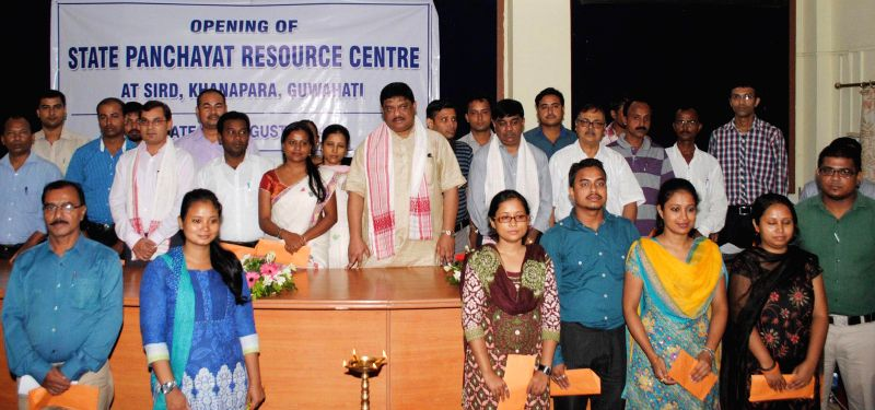 Minister of Rural Development and Panchayat, Government of Assam Rockybul Hussain along with faculty`s posing for a photographs after distributing offer letter to the faculty`s during the opening of .