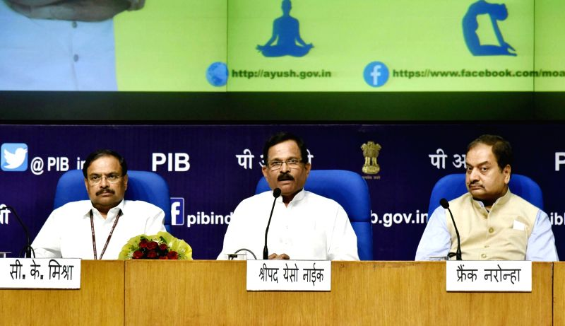 Minister of State for AYUSH (Independent Charge) Shripad Yesso Naik addresses at the inauguration of the National Health Editors' Conference on Yoga, organised by Ministry of AYUSH in ...