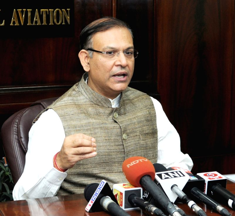 Minister of State for Civil Aviation Jayant Sinha briefs the media on 'UDAN' in New Delhi on April 28, 2017. - Aviation Jayant Sinha