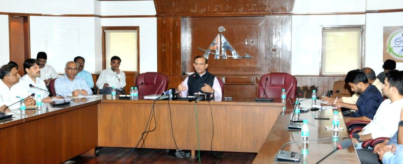 Minister of State for Civil Aviation Jayant Sinha briefing the media on Digiyatra in New Delhi on June 8, 2017. - Aviation Jayant Sinha