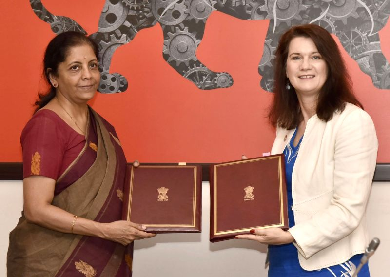 Minister of State for Commerce and Industry (Independent Charge) Nirmala Sitharaman and Minister for Trade and EU Affairs, Ministry for Foreign Affairs Ann Linde during the 18th Session of ...