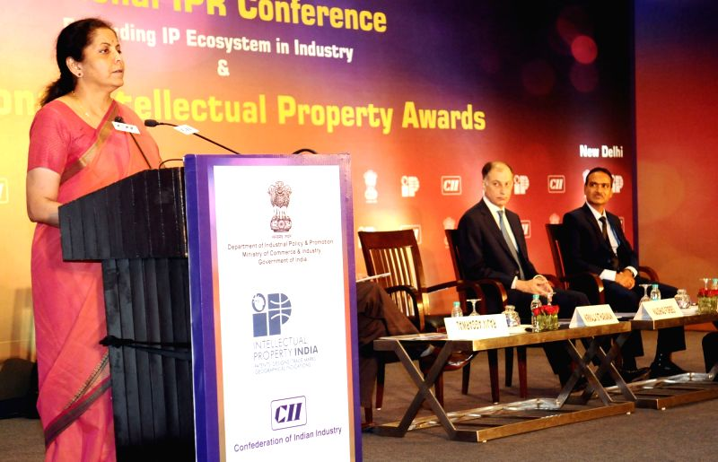 Minister of State for Commerce & Industry (Independent Charge) Nirmala Sitharaman addresses at the presentation of the 9th National Intellectual Property Awards in New Delhi on April ...