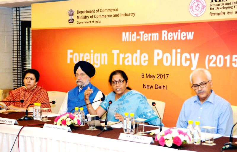 Minister of State for Commerce & Industry (Independent Charge) Nirmala Sitharaman interacts with the media on Mid-Term Review of Foreign Trade Policy (2015-2020), in New Delhi on May ...