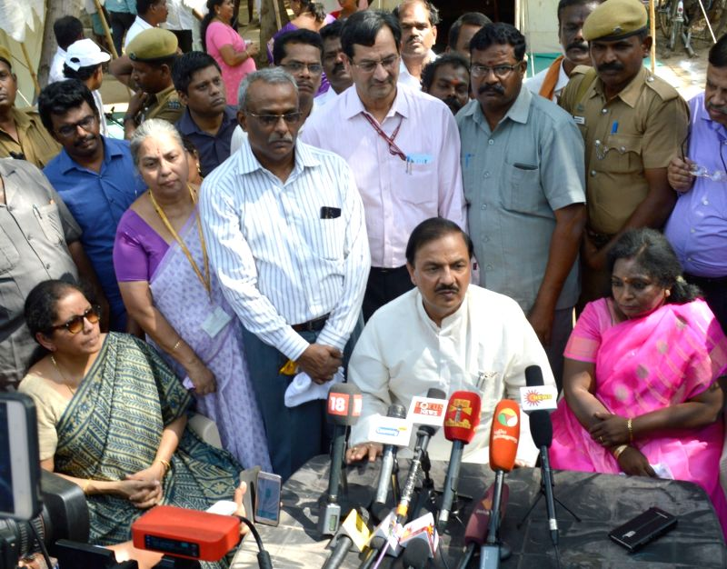 Minister of State for Culture and Tourism (Independent Charge), Dr. Mahesh Sharma and Minister of State for Commerce & Industry (Independent Charge) Nirmala Sitharaman talk to press ... - Mahesh Sharma