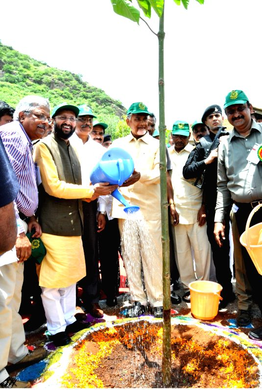 Minister of State for Environment, Forest and Climate Change (Independent Charge), Prakash Javadekar along with the Andhra Pradesh Chief Minister N. Chandrababu Naidu plants a sapling at ... - N. Chandrababu Naidu
