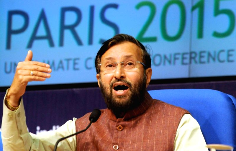 Minister of State for Environment, Forest and Climate Change (Independent Charge) Prakash Javadekar addresses a press conference to mark the completion of two years of the Government, in ...