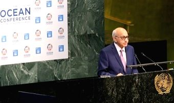 Minister of State for External Affairs MJ Akbar told the United Nations Oceans Conference in New York on Thursday, June 9, 2017, that seas cannot be turned into areas of conflict. (Photo credit: ...