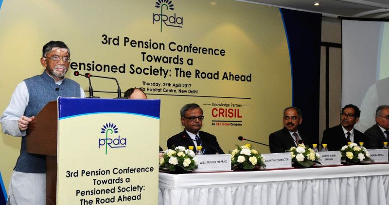 "Minister of State for Finance Santosh Kumar Gangwar addresses the Third Pension Conference on ""Towards A Pensioned Society: The Road Ahead"" organised by the PFRDA, in New Delhi ... - Santosh Kumar Gangwar"