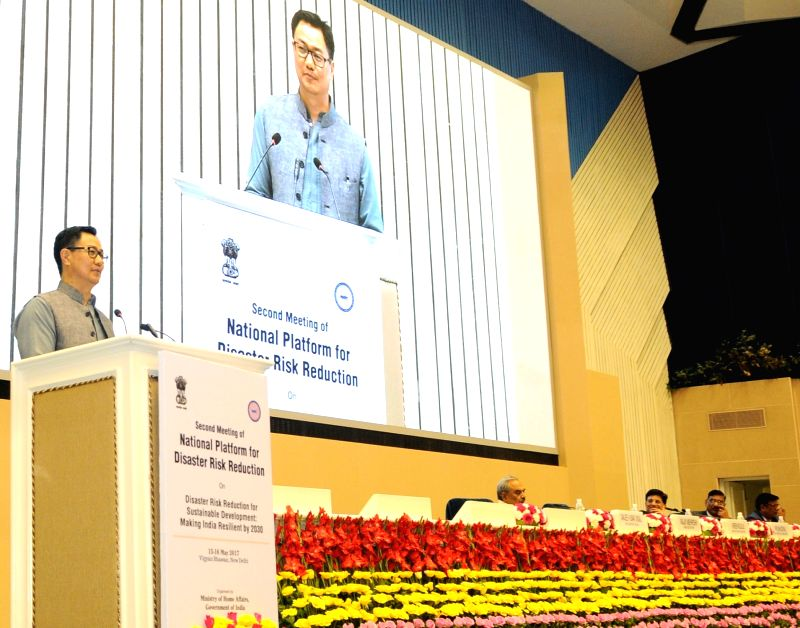 Minister of State for Home Affairs Kiren Rijiju addresses at the Valedictory Session of the second meeting of National Platform for Disaster Risk Reduction (NPDRR) in New Delhi on May 16, ...