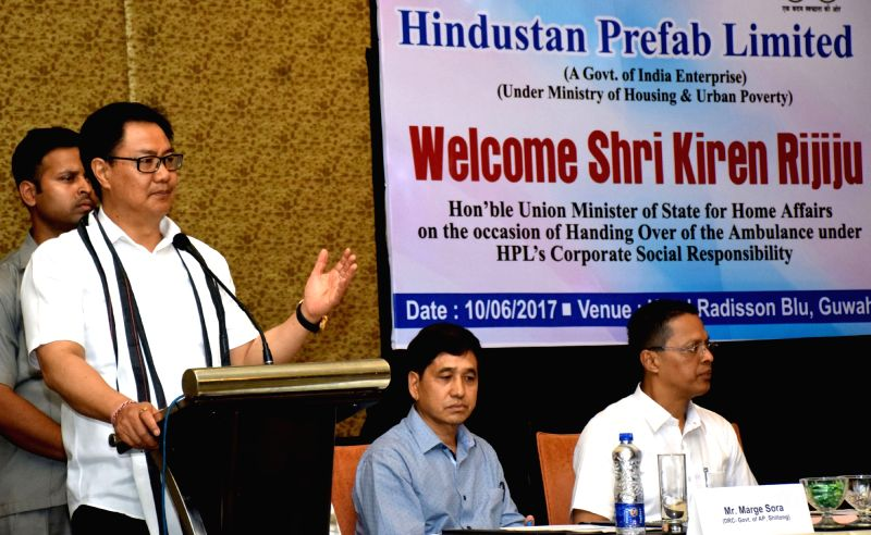 Minister of State for Home Affairs Kiren Rijiju addresses on the occasion of handing over of ambulance under Hindustan Prefab Limited's Corporate Social Responsibility in Guwahati on June ...