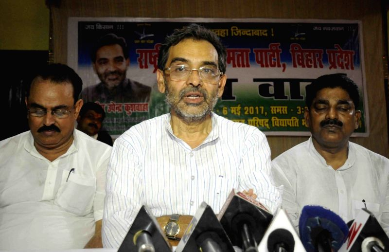 Minister of State for HRD Upendra Kushwaha addresses a press conference in Patna on May 6, 2017.