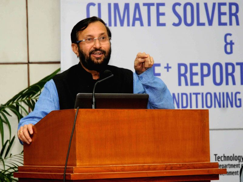 Minister of State for Information and Broadcasting (Independent Charge), Environment, Forest and Climate Change (Independent Charge) and Parliamentary Affairs, Prakash Javadekar during `Climate ...