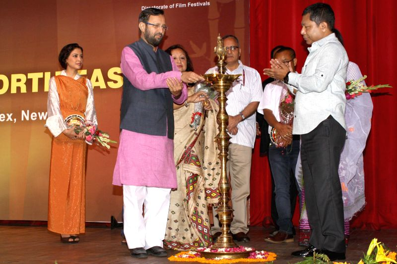 Minister of State for Information and Broadcasting (Independent Charge), Environment, Forest and Climate Change (Independent Charge) and Parliamentary Affairs Prakash Javadekar, Meghalaya Chief ... - Mukul Sangma