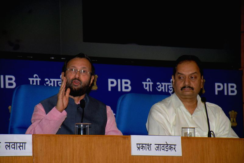 Minister of State for Information and Broadcasting (Independent Charge), Environment, Forest and Climate Change (Independent Charge) and Parliamentary Affairs Prakash Javadekar during a press ...