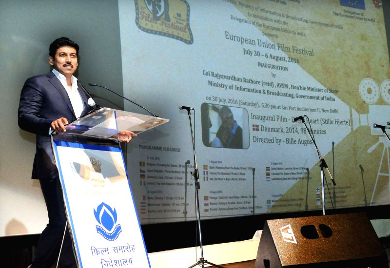 Minister of State for Information and Broadcasting, Col. Rajyavardhan Singh Rathore addresses at the inauguration of the European Union Film Festival, in New Delhi on July 30, 2016. - Rajyavardhan Singh Rathore