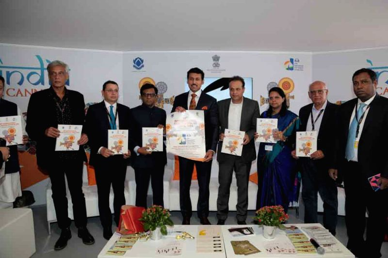 Minister of State for Information and Broadcasting Col. Rajyavardhan Singh Rathore releasing 47th IFFI poster at India Pavillion, Cannes Film Festival - Rajyavardhan Singh Rathore