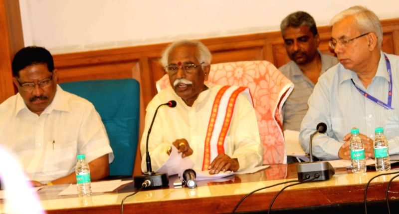 Minister of State for Labour and Employment (Independent Charge) Bandaru Dattatreya addresses a press conference at ESIC Regional Office in Hyderabad on June 10, 2017.