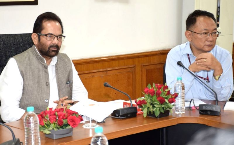 Minister of State for Minority Affairs (Independent Charge) and Parliamentary Affairs Mukhtar Abbas Naqvi chairs a review meeting of the Ministry of Minority Affairs, in New Delhi on April ...
