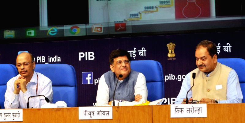 Minister of State for Power, Coal, New and Renewable Energy and Mines (Independent Charge) Piyush Goyal addresses a press conference on Deendayal Upadhyaya Gram Jyoti Yojana - Rural ...