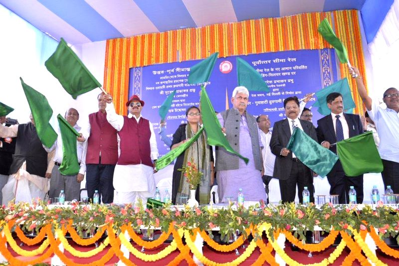 Minister of State for Railways Manoj Sinha and other dignitaries at a programme to flag off the passenger train from Silchar. - Manoj Sinha