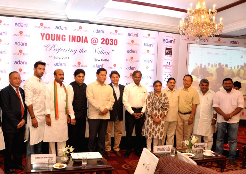 Minister of State for Youth Affairs and Sports (Independent Charge) Sarbananda Sonowal during `ASSOCHAM Young India @ 2030 Conclave: Preparing the Nation` in New Delhi on July 1, 2014.