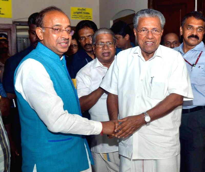 Minister of State for Youth Affairs and Sports (I/C), Water Resources, River Development and Ganga Rejuvenation Vijay Goel meets Kerala Chief Minister Pinarayi Vijayan to discuss about the ... - Pinarayi Vijayan