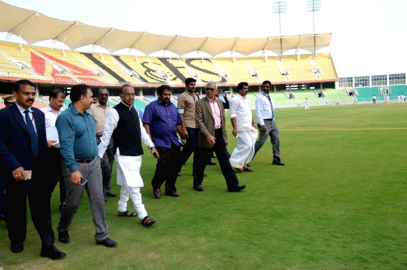 Minister of State for Youth Affairs and Sports (I/C), Water Resources, River Development and Ganga Rejuvenation Vijay Goel visits the Greenfield Stadium, at Kariyavattom, in ...